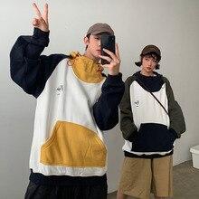 купить Winter Plus Velvet Hoodies Men Fashion Contrast Color Casual Large Pocket Hooded Sweatshirt Man Streetwear Loose Hip Hop Hoodie по цене 1966.96 рублей