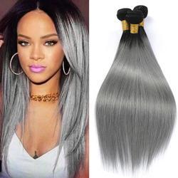 Dejavu волосы прямые волосы 1B/серый эффектом деграде (переход от темного к бразильские Волосы Remy серебрянный Серый цвет пучки человеческих вол...