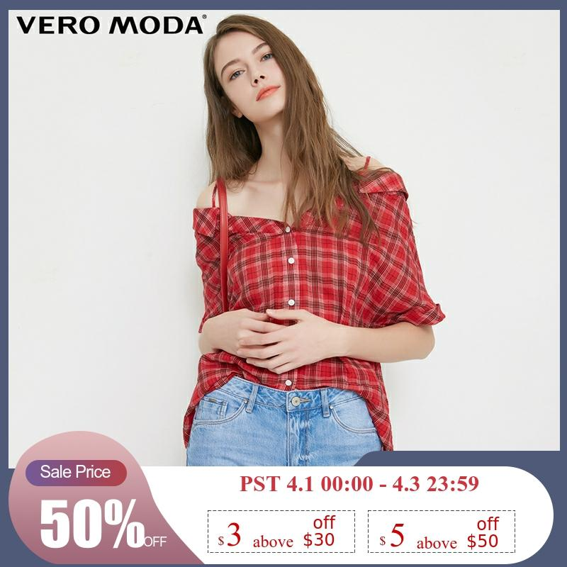 Vero Moda Women's Off-Shoulder Top Plaid Half Sleeves Plaid Shirt Blouse | 31836W506