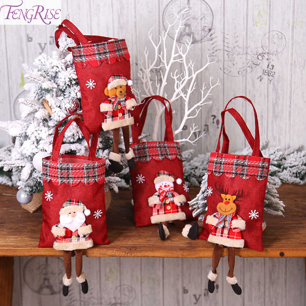 Elk Santa Claus Christmas Gift Bag Candy Bag Stockings Christmas Decorations For Home Christmas Tree Decor Ornament 2019 Navidad