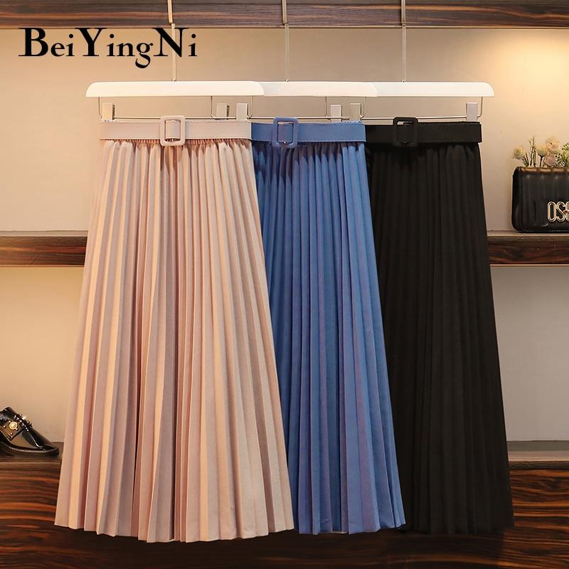 Beiyingni Women Pleated Midi Skirt High Waist Belt Korean Plus Size Spring Summer 2020 Casual Elegant Skirts Ladies Fashion Saia