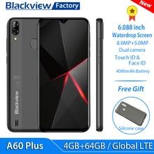 """Blackview A60 4G, LTE, смартфон, 4080 мА/ч, 4 Гб Оперативная память 6,088 """"в виде капли воды, Экран мобильный телефон 8MP + 5MP Камера Android 10 мобильного телефона"""