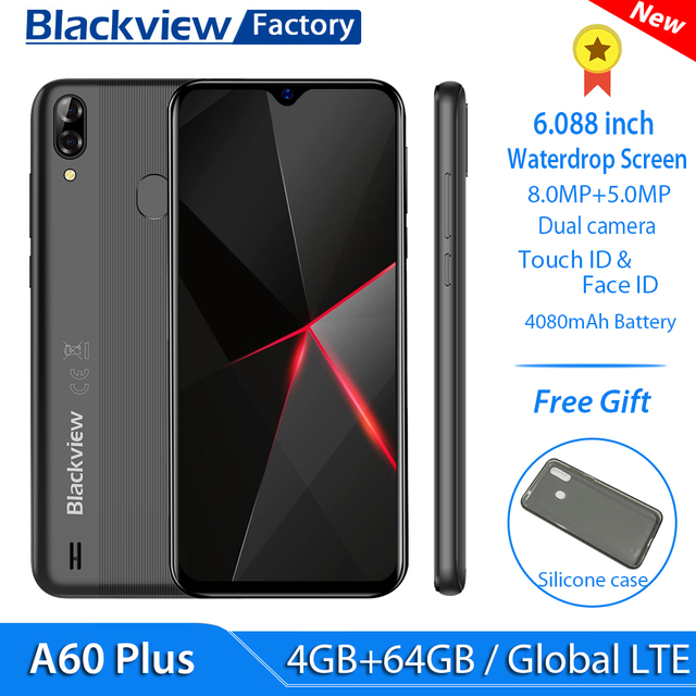 "Blackview A60 4G Plus LTE 스마트 폰 4080mAh 4GB RAM 6.088 ""물방울 화면 휴대 전화 8MP + 5MP 카메라 안드로이드 10 핸드폰"