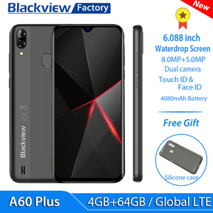 """Image 1 - Blackview A60 Plus 4G Lte 4080Mah Smartphone 6.088 """"Waterdrop Screen Mobiele Telefoon 4Gb Ram Android 10 8MP + 5MP Camera Cellphone"""