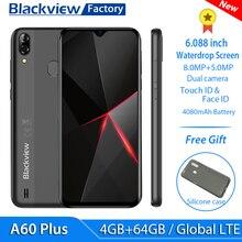 Blackview teléfono inteligente A60 4G Plus, LTE, 4080mAh, 4GB de RAM, pantalla gota de agua de 6.088 pulgadas, cámara de 8MP + 5MP, Android 10