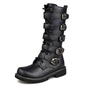 Men Boots Autumn Winter Shoes Men Fashion Punk Motorcycle Boot Lace-up Boots PU Leather Male Botas Working Boots Men Shoes