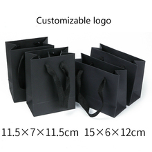 Tote-Bags Jewelry-Packaging Bulk Custom Wholesale Lots Black Paper Logo-Size Upscale