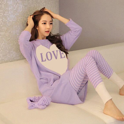 Spring Summer Confinement Clothing Korean-style Nursing Pajamas Postpartum Home Wear Pullover Homewear Set Feeding