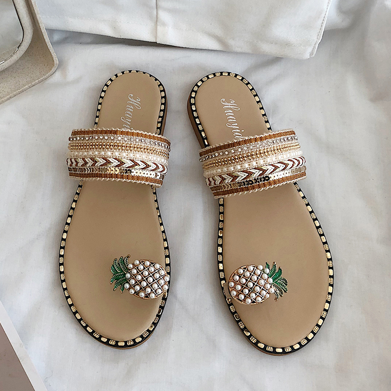 Women Casual Slippers Outdoors Classic Designer Ladies Sandals Slides Cartoon Pineapple Bohemian Style Pearls Slippers Female image
