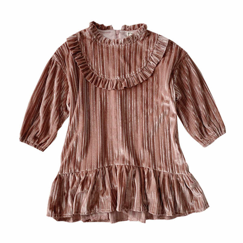 2 to 16 years kids & teen girls corduroy long sleeve ruffle flare dress children fashion fall winter casual dresses clothes