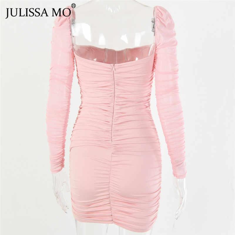 Julissa mo biała siatka Ruched jesień sukienka kobiety bez ramiączek seksowna sukienka bodycon na imprezę moda Ruched dopasowane sukienki Vestidos krótki