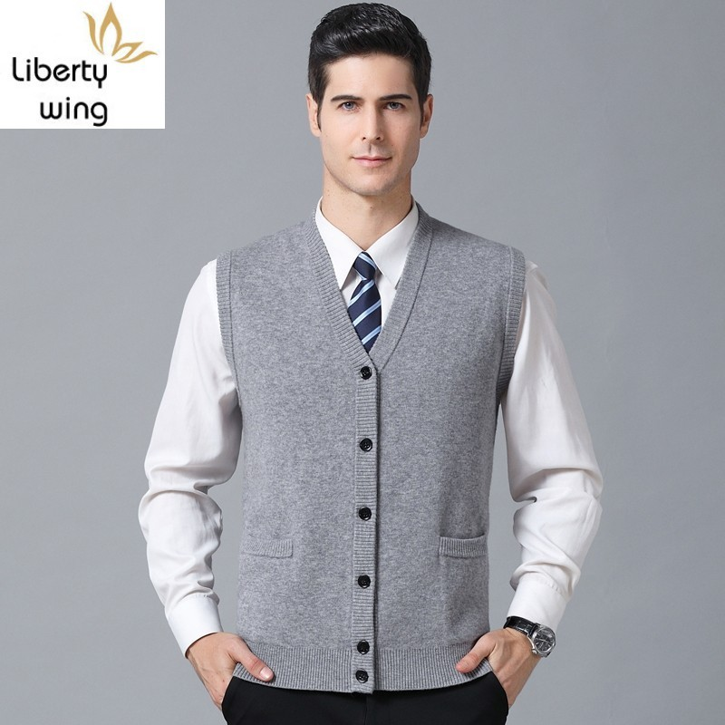 Spring Autumn Luxury 100% Wool Vest Men V-Neck Thick Knitting Sleeveless Waistcoats Single Breasted Casual Solid Slim Vests Tops