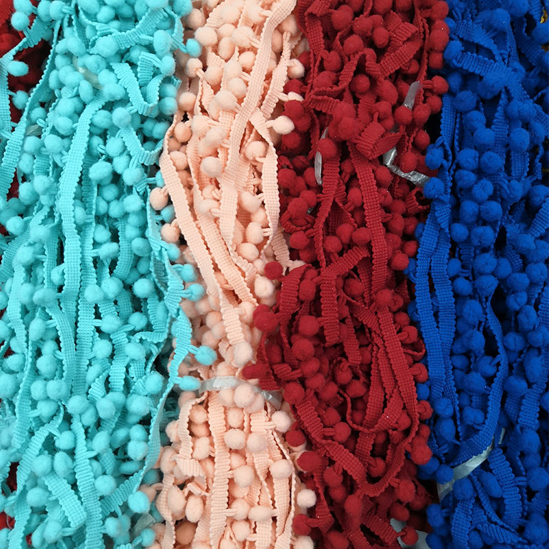 Bobble de la cinta Adorno De Flecos Borlas cinta con Borlas Para Cortinas Craft-Blanco