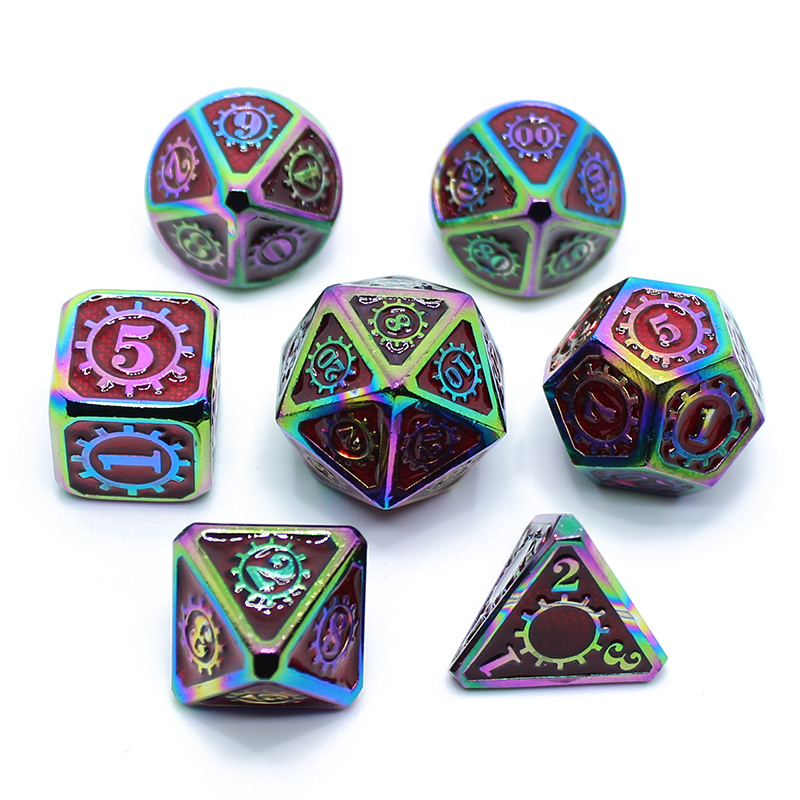 Metal Dice Set D4 D6 D8 D10 D12 D20 Soft Drawstring Pouch DnD RPG Board Games Dados Rpg D D Dices Dungeons And Dragons Dados Rol