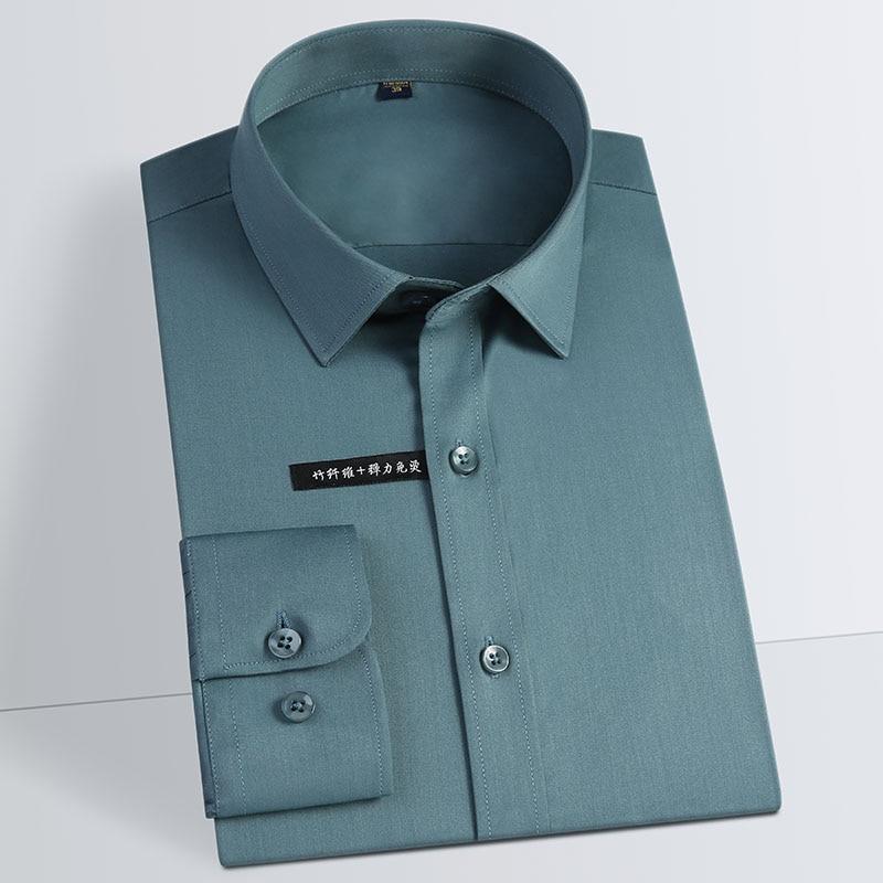 ชายเหล็กยืดหยุ่นไม้ไผ่เสื้อ Regular-Fit แขนยาวสังคมอย่างเป็นทางการธุรกิจง่าย -Care คลาสสิกเสื้อ