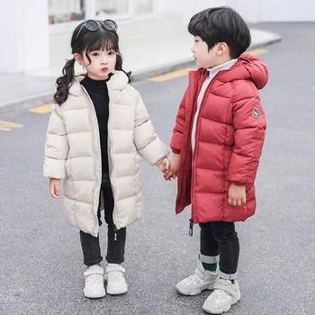 2019 الشتاء الفتيان والفتيات ملابس الأطفال سترة طويلة سترة سميكة سترة دافئة مناسبة لشتاء بارد