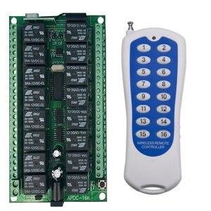 Image 1 - Uzun menzilli DC12V 16CH radyo kontrol RF kablosuz uzaktan kumanda anahtarı sistemi, 315/433 Mhz, verici ve alıcı