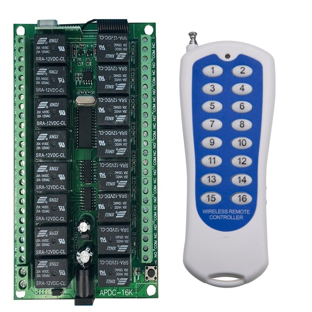 Uzun menzilli DC12V 16CH radyo kontrol RF kablosuz uzaktan kumanda anahtarı sistemi, 315/433 Mhz, verici ve alıcı