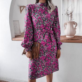 Celebrity Floral stand collar lantern long sleeve chiffon dress purple womens fashion fall knee-length zipper printed