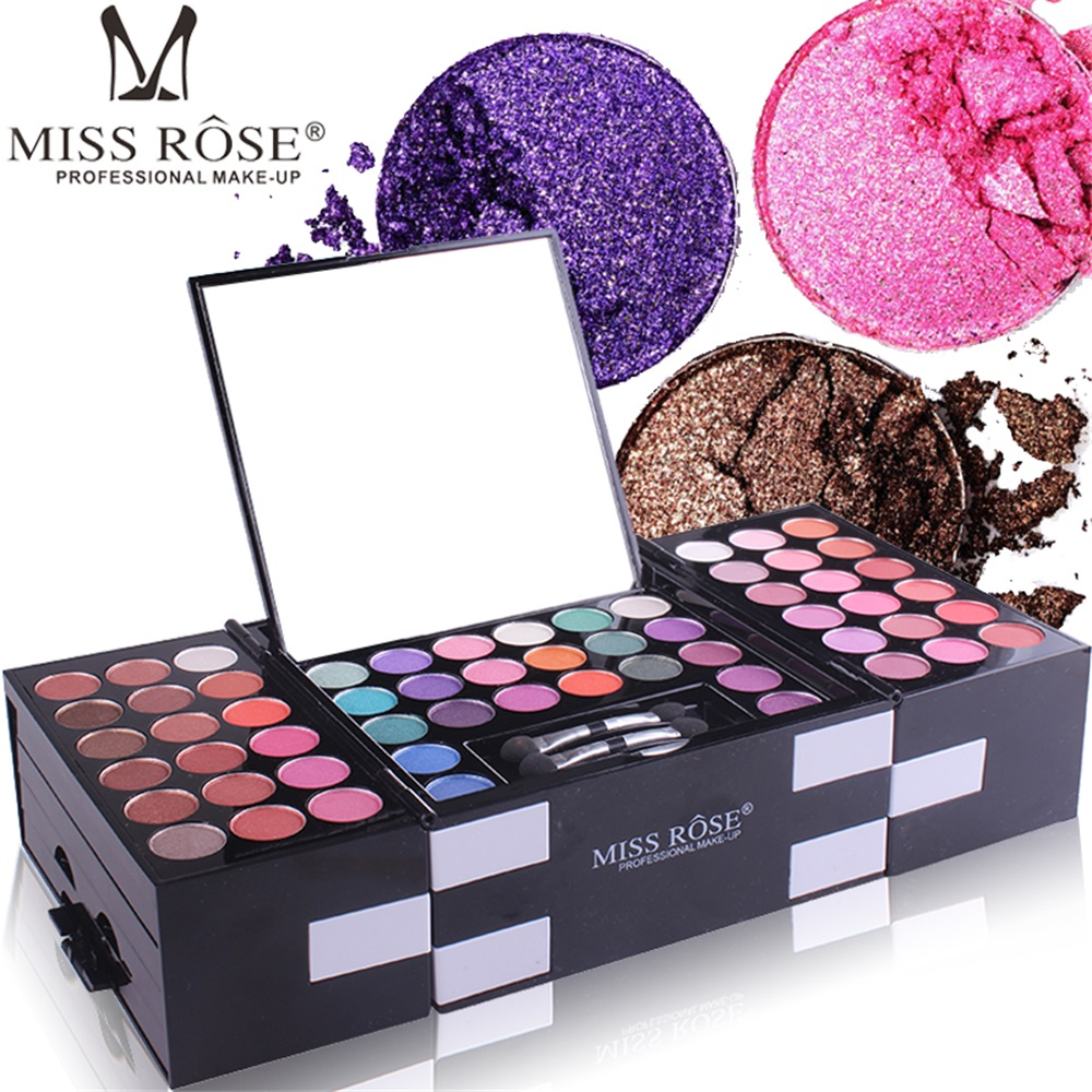 MISS ROSE 148Color Makeups Palette Kit 142Color Eye Shadows Palette Glitter Shimmer Eyeshadow Cosmetics Blush Eyebrow Powder Set
