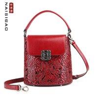 NAISIBAO Women Genuine Leather bag cowhide luxury handbags women bags designer bags famous brand women bags 2020 new tote bag