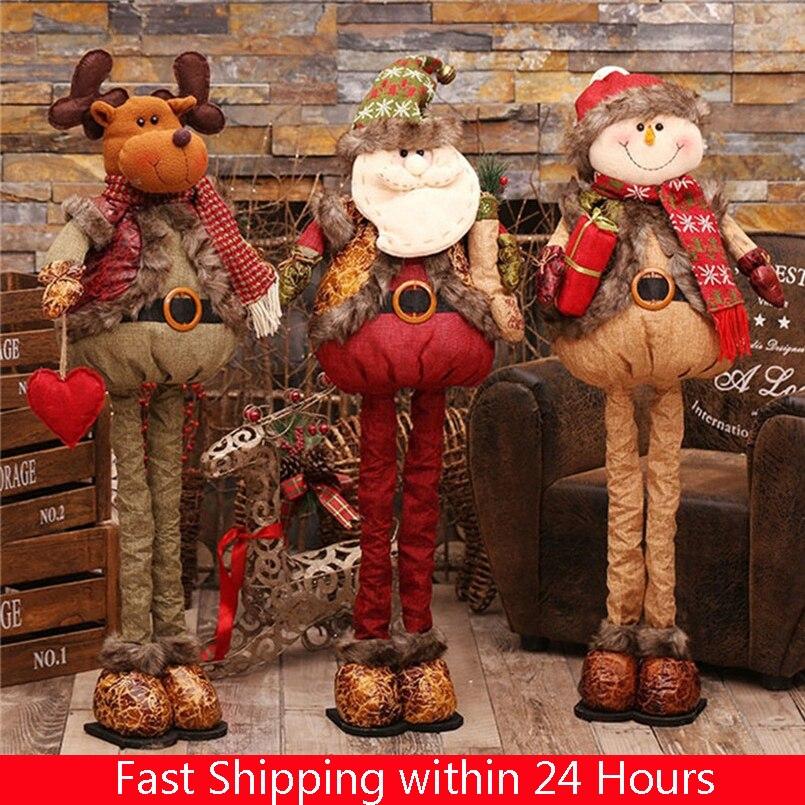 Natal retrátil permanente 43-76cm natal boneca decoração de natal grande papai noel boneco de neve elk boneca crianças brinquedo de presente de ano novo
