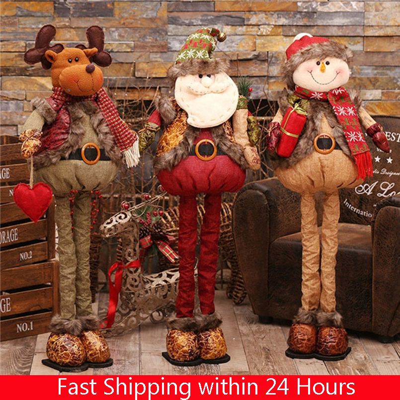 Natal Retractable Standing 43-76cm Christmas Doll Decoration Large Santa Claus Snowman Elk Kids New Year Gift Toy