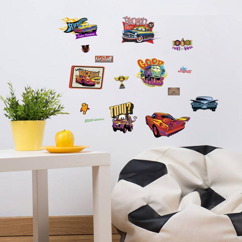 Cartoon Mcqueen Cars 3D Wall Stickers for Kids Room Boys Fake Window PVC Wallpaper Murals Sticker Decals Room Decoration Nursery 9
