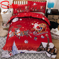 King Size Christmas Bedding Set Kids Festival Gift Duvet Cover Sets Twin Double Queen Red Santa Claus Quilt Covers No Bed Sheet
