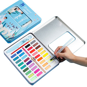 Image 2 - New Portable 36 Color Solid Watercolor Paint Set Children Beginners Hand Painted Water Color With Water Brush Pen Art Supplies