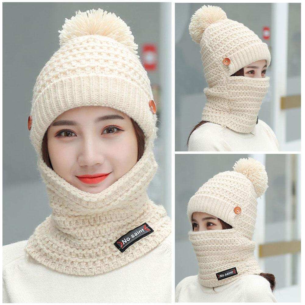 Hat Female Winter Wild Plus Velvet Warm Autumn And Sweet Blend Cotton Knitted Cute Hat Hat Winter Ladies K9P6