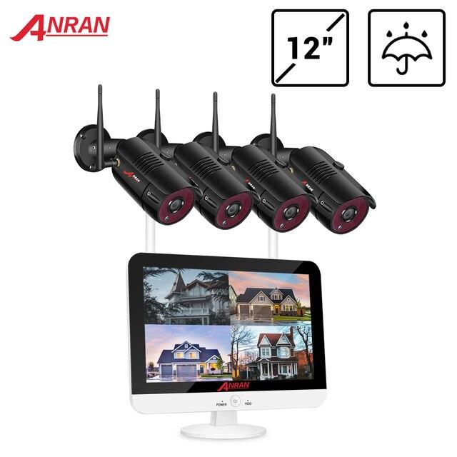 Anran sem fio sistema de cctv 1080p hdd 2mp nvr ip IR CUT ao ar livre cctv câmera sistema de segurança ip kit vigilância vídeo app controle