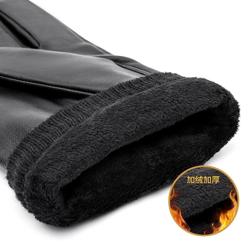 Gloves Sheepskin Touch-Screen Warm Winter Bison Denim Full-Finger Autumn Men Black S019