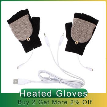 Termiczne rękawice do ogrzewania rękawiczek dzianinowe rękawice rozgrzewające zimowe rękawice do ogrzewania rękawiczek dziewiarskich USB 5V zasilane rękawicami do uprawiania sportów na świeżym powietrzu tanie i dobre opinie CN (pochodzenie) 8-10 Godzin 50 W i Pod