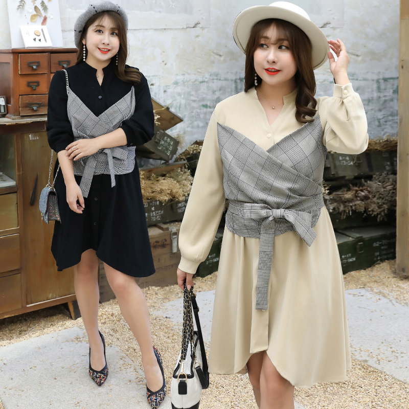 2019 Autumn Clothing Plus-sized Extra Large WOMEN'S Dress Large GIRL'S Mock Two-Piece Dress Manufacturers A Generation Of Fat 67