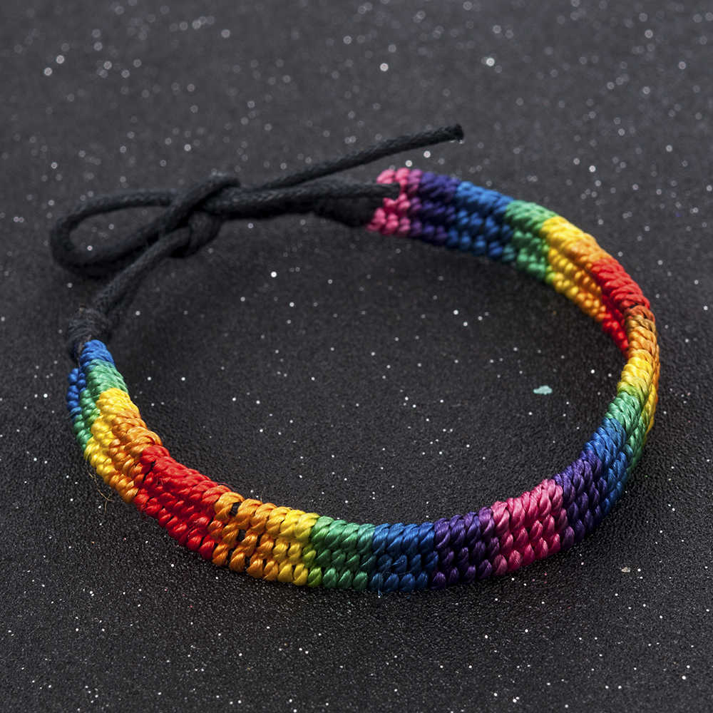 2019 New Simple Power Gay Pride Rainbow Unisex Bracelet Jewellery Lesbian Bisexual Handmade Knot Trans Rope Chain for Men Women