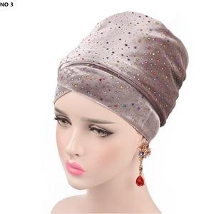 Image 5 - Helisopus 2020 New Muslim Long Tail Scarf Hat Women Starry Velvet Turban Chemo Cap Hair Accessories Women Headwraps