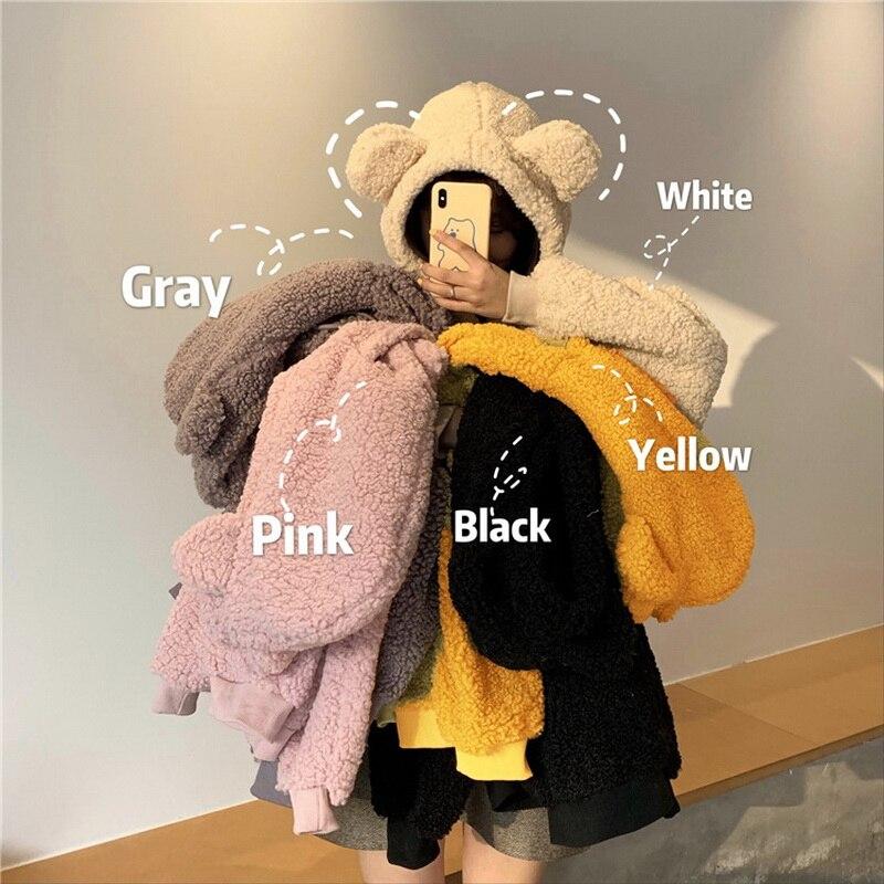 QRWR 2020 sweat à capuche pour femme Style coréen hiver décontracté mignon Kawaii chaud sweat ample femme poche surdimensionné sweats à capuche pour les filles