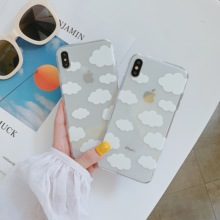 Fashion Transparent Cloud Pattern Silicone Phone Case For
