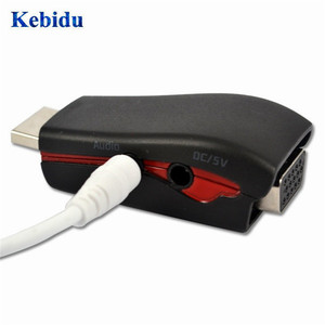 Image 3 - KEBIDU HDMI to VGA Video Converter Box Adapter Adaptor with 3.5mm AV Audio Cable For PC HDTV For PS3 DVD black/white