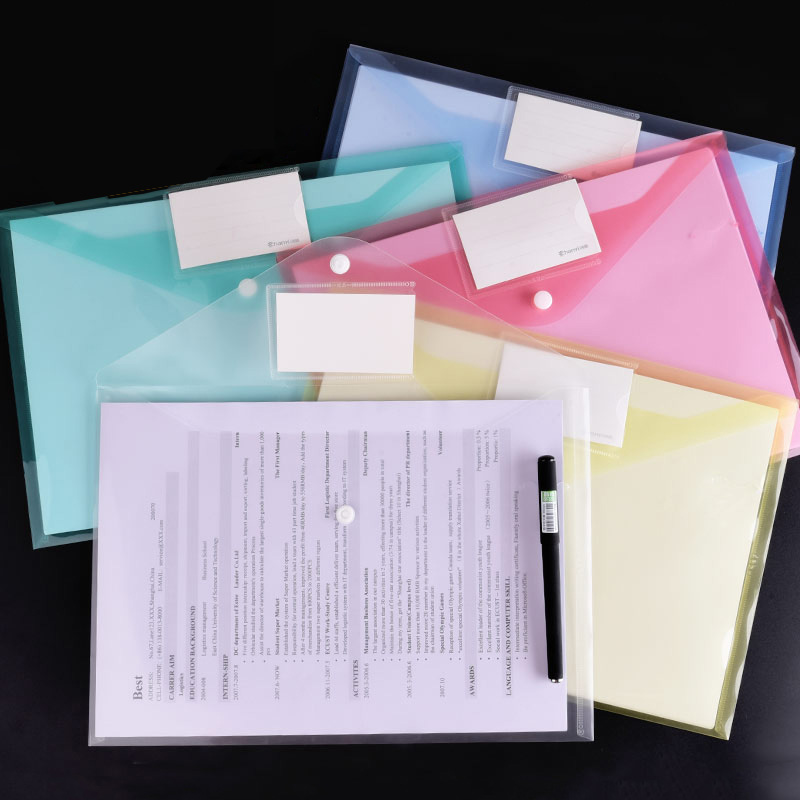12pcs A4 Transparent PP File Folder Binder Waterproof File Holder Filing Envelope Business Document Organizer Office Supplies