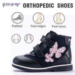 Princepard 2018 New orthopedic shoes for kids casual genuine leather pink navy color baby orthopedic shoes girls and boys 21-36