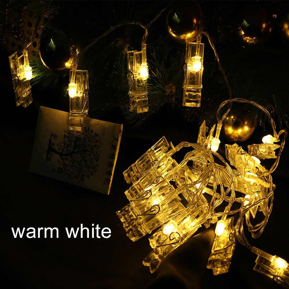 Creative פיות אורות סוללה מופעל ציור תמונות כרטיס מסיבת תמונה קליפ 10/20 LED תליית תמונות מנורת קיר חג המולד קישוט