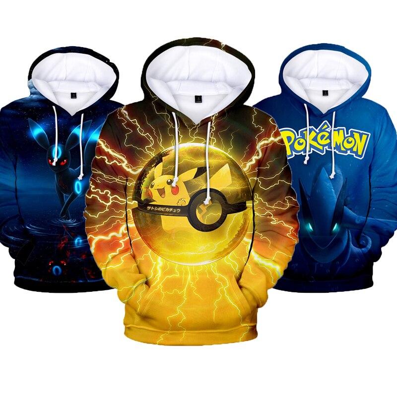 Mens Pokemon Hoodies Sweatshirt Streetwear Hoody Pullover Cartoon Hooded Sweatshirts Men Winter Fleece Pokemon Male Hoodie
