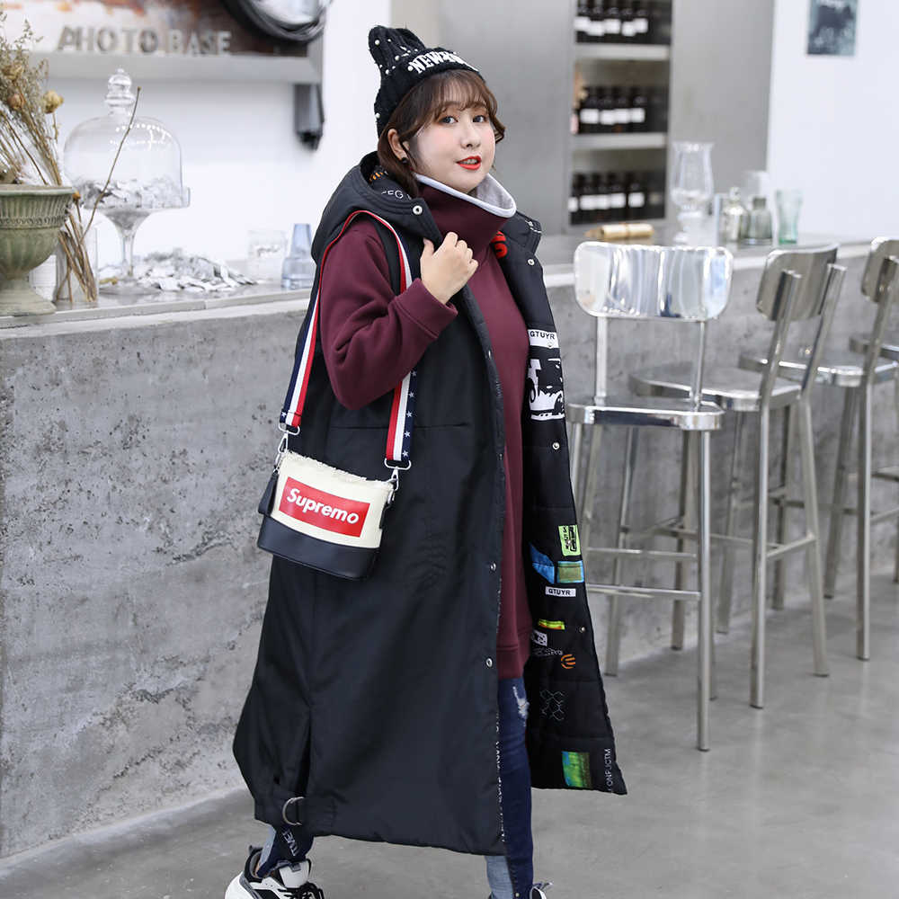 Thick Vests Women 2019 New Winter Spring Long Sleeveless Jackets Ladies Plus Over Size 4XL 5XL With Hood Female Outerwear