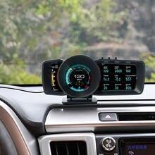 Cabeça up display 3 ultra-grande tela lcd monitor hud obd2 gps sistema duplo para todos os los coches muestra velocidad rpm alarma