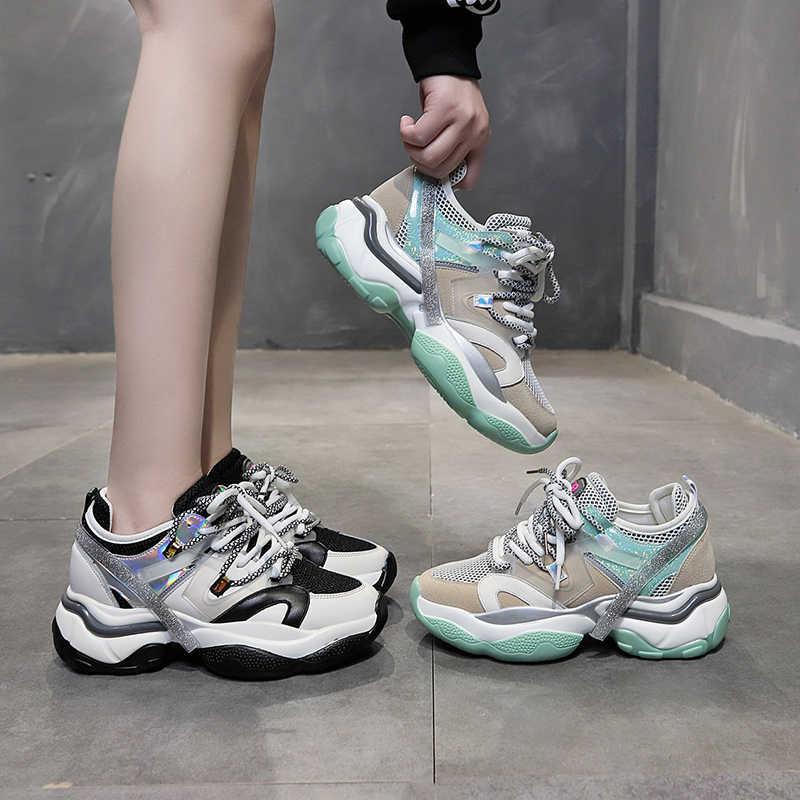 MBR Lực Lượng 2020 Mới Nêm Giày Sneaker Nữ Phẳng Nền Tảng Giày Thời Trang Mujer Giày Buộc Dây Thoáng Khí Đáy Dày Nữ giày