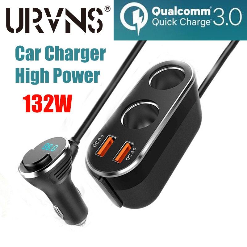 URVNS 120W розетка для автомобильного прикуривателя Разветвитель Зарядное устройство Dual USB QC 3,0 быстрой зарядки 36 Вт Мощность адаптер штепсельн...