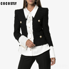 Autumn Satin Spliced Tweed Jacket Women Lion Button Long Sleeve Korean Coats Off