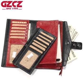 Mens Wallet Styles   GZCZ Cell Phone Pocket Women Wallet Long Design Red Hasp&Zipper Lady Chinese Style Genuine COW Leather Clutch Wallets Coin Purse